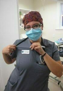 Venessa the vet tech wearing a mask